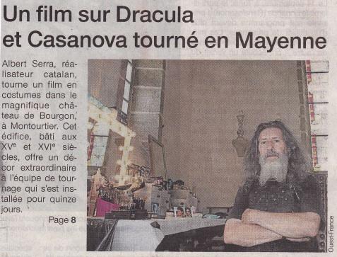 Un film sur Dracula et Casanova tourné en Mayenne