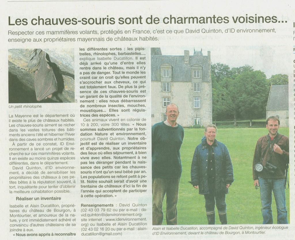 Ouest France chauves souris Bourgon