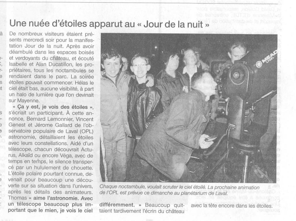 Jour de la nuit Ouest France 10/10/12